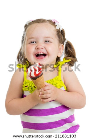 joyful child girl eating ice cream - stock photo