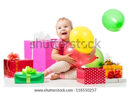 Joyful child girl with colorful balloons and gifts. Isolated on white. - stock photo