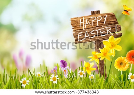Joyful colorful spring background for a Happy easter with seasonal greeting handwritten on a rustic wooden sign board in spring countryside with fresh green grass and flowers, copy space above - stock photo