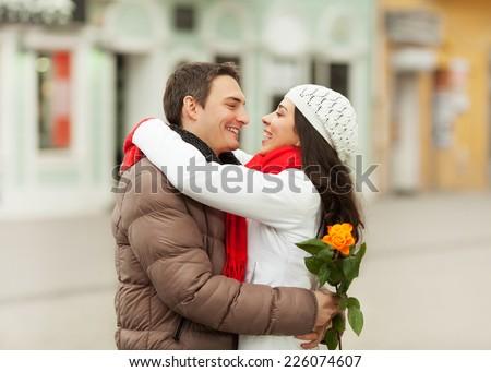 Joyful couple - stock photo