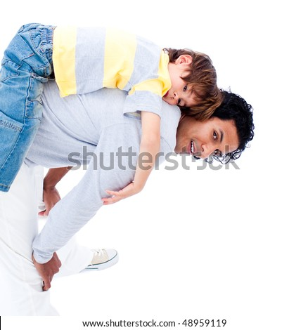 Joyful father and his little boy playing together isolated on a white background - stock photo