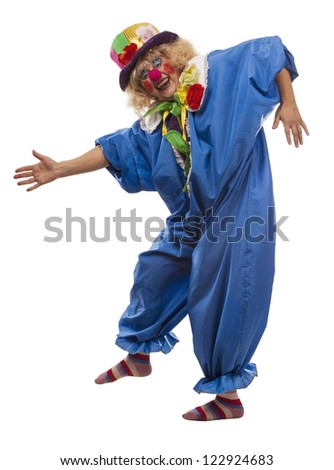 Joyful female clown costume on a white background - stock photo