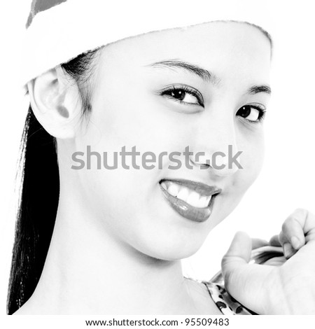 Joyful Girl Happy And Wearing A Christmas Hat - stock photo