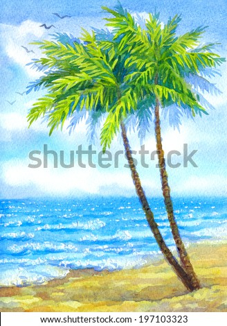Joyful handwork watercolor backdrop with space for text. Tall green palm trees lit bright midday sun on a yellow sandy seaboard in peaceful turquoise sea surf under white clouds on blue sky - stock photo