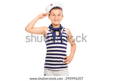 Joyful little boy in a sailor uniform saluting towards the camera and smiling isolated on white background - stock photo