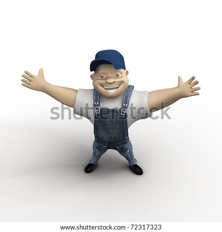Joyful man with wide-set hands on a white background - stock photo