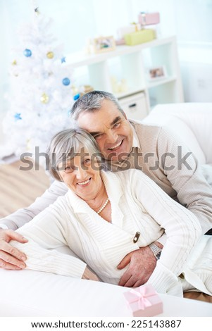 Joyful seniors looking at camera on background of Christmas tree - stock photo
