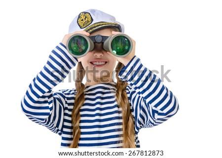Joyful teen girl wearing sailor's striped vest and marine cap looking through binoculars. Studio shot. Isolated over white. - stock photo