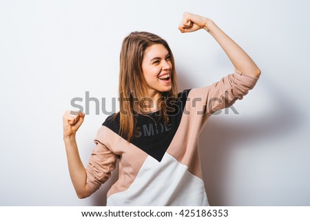 Joyful. Very happy woman - stock photo