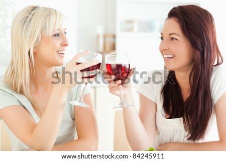 Joyful women toasting with wine in a kitchen - stock photo