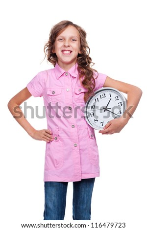 joyous girl with clock standing over white background - stock photo