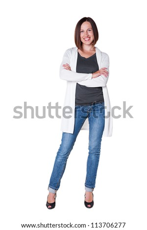 joyous girl with folded hands posing over white background - stock photo