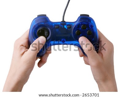joypad in hands - stock photo