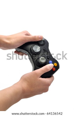 joystick and hands isolated white - stock photo