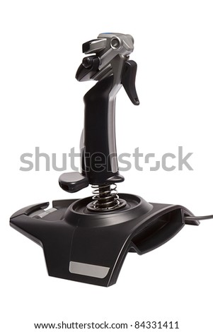 joystick for aircraft simulator isolated on a white background - stock photo