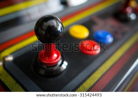 Joystick of a vintage arcade videogame - Coin-Op - stock photo