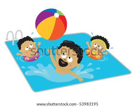 JPEG Father and kids playing in a pool (African American) - stock photo