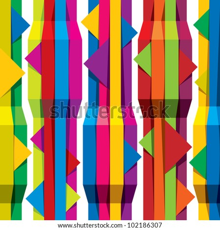 Jpeg illustration from vector file: Color tapes seamless pattern, vertical lines with horizontal arrows, background for conceptual design projects. - stock photo