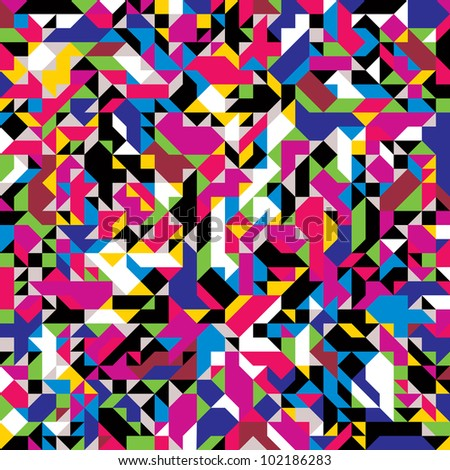 Jpeg illustration from vector file: Seamless geometric pattern with colorful elements. - stock photo