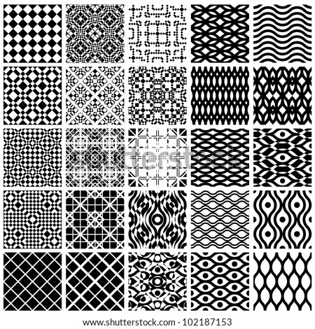 Jpeg illustration from vector file: Set of monochrome geometric seamless patterns. Backgrounds collection. - stock photo