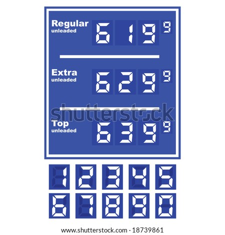Jpeg illustration of a gas station price display, with separate numbers for changing prices - stock photo