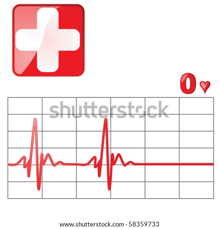 Jpeg illustration of a heart rate monitor as the heartbeat flatlines - stock photo
