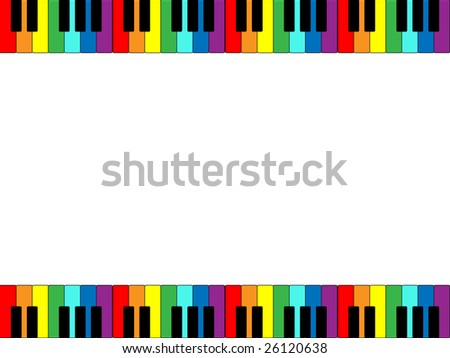 Jpeg illustration of piano keyboard border in rainbow colors. - stock photo