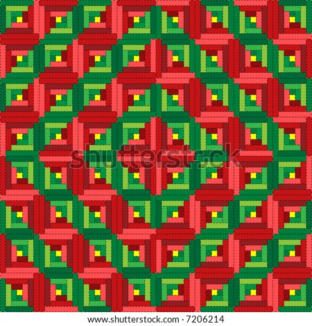 Jpeg illustration quilt series--christmas log cabin quilt in barn raising pattern. - stock photo