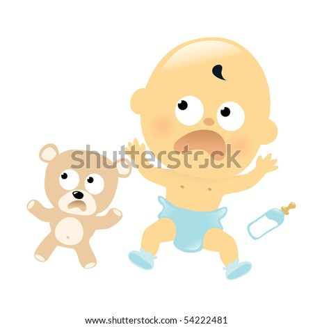 JPEG Scared baby and teddy bear - stock photo