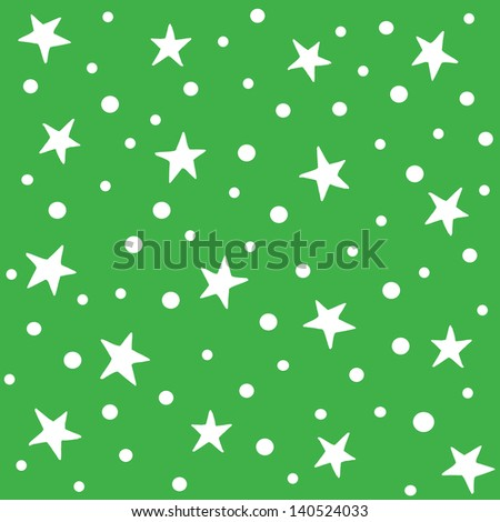 JPEG seamless background pattern in green with white stars. Good for Christmas, Greeting Cards, Gift Wrap, Scrapbook, Surface Textures. See my portfolio for matching patterns and for vector version. - stock photo