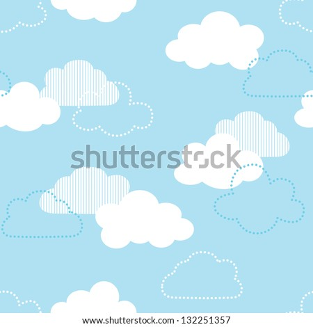 JPEG seamless background with clouds. Great for Greeting Cards, gift wrap, surface textures. See my folio for matching patterns in this set and for vector version - set of 4 seamless patterns. - stock photo