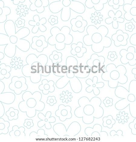 JPEG seamless background with vintage daisies. Use for scrapbook, baby shower, greeting cards, wedding, gift wrap, surface textures. See my folio for alternate color versions and for vector versions. - stock photo