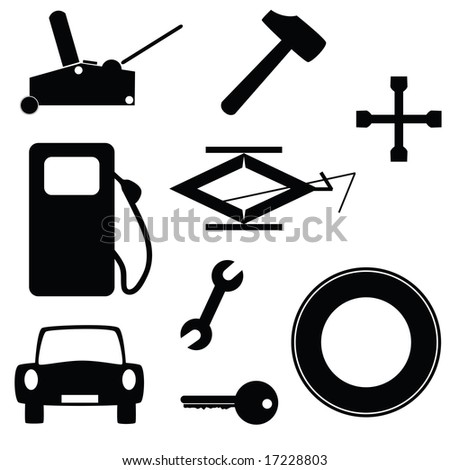 Jpeg set of icons related to cars and transportation. For vector version, please see my portfolio. - stock photo