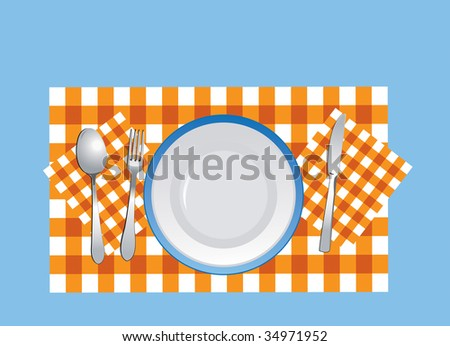 JPEG version. Flatware and plate on the tablecloth - stock photo