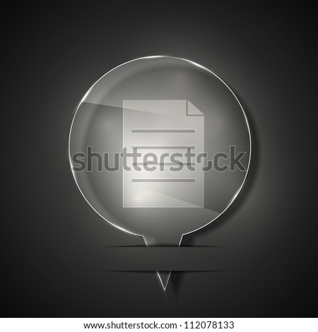 Jpeg version. glass file icon on gray background - stock photo