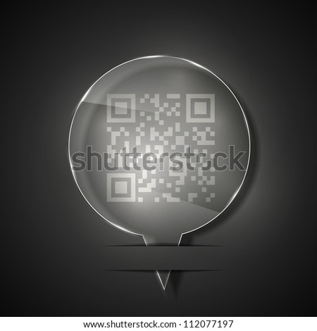 Jpeg version. glass qr code icon on gray background - stock photo