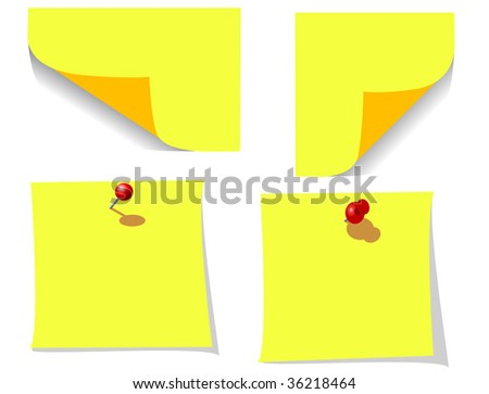 JPEG version. Office note papers with pins isolated on white - stock photo