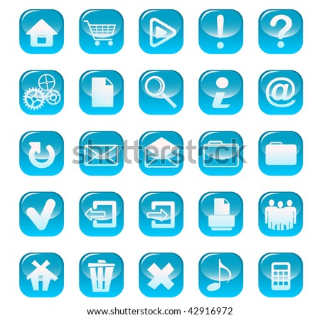 Jpeg version. Set of web buttons for design isolated on white - stock photo