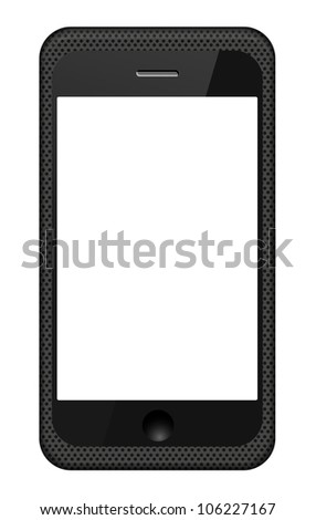 Jpeg version. smartphone in a grid cover isolated on white - stock photo