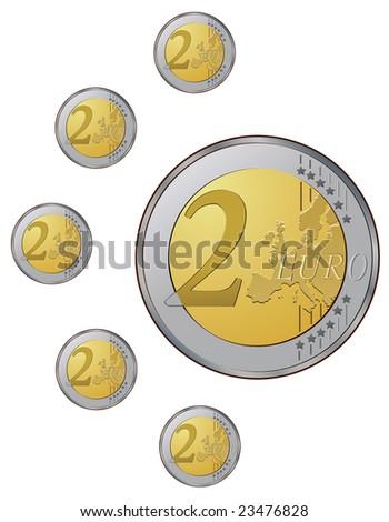 Jpeg version.  Two euro coins on the white background - stock photo