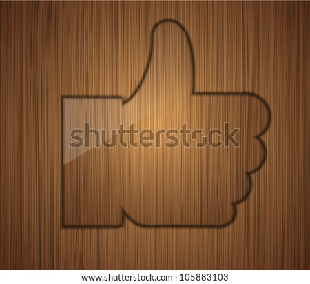 Jpeg version. wooden thumbs up. Business background design. - stock photo