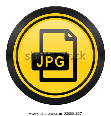 jpg file icon, yellow logo,  - stock photo