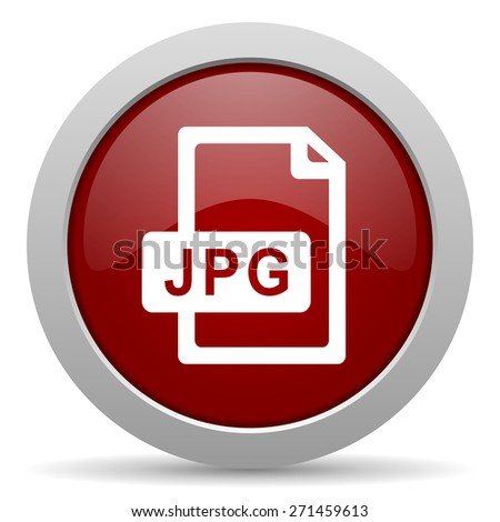 jpg file red glossy web icon   - stock photo