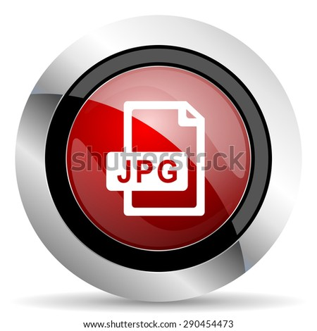 jpg file red glossy web icon  original modern metallic and chrome design for web and mobile app on white background   - stock photo