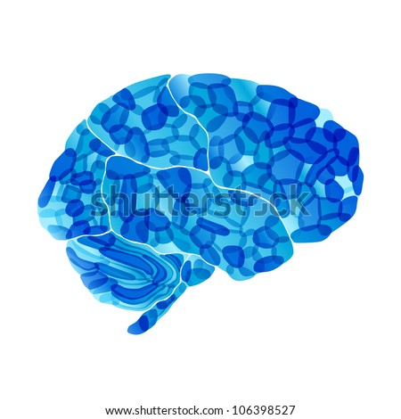 jpg, human brain, cold mind, abstract background - stock photo