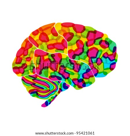 jpg, human brain, rainbow dream, abstract background - stock photo