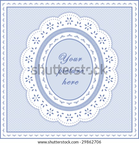 jpg- Oval Eyelet Lace Frame on Baby Blue Polka Dot Background. Add your Picture. - stock photo