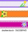 Jpg.  Three banners or borders of stripes, polka dots, or gingham with flowers, accent quilt stitches and plenty of copy space. - stock photo