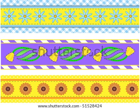 Jpg.  Three borders with flowers, polka dots, stripes and gingham with accent quilting stitches. - stock photo