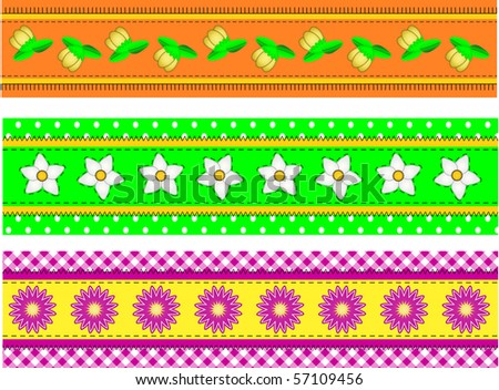 Jpg  Three Flower Borders with dots, gingham and quilting stitches - stock photo